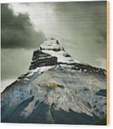 A Peak Of A Mountain Top In The Rocky Wood Print