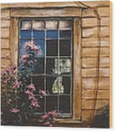 A Peek Through The Window Wood Print