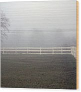 A Picket Fence In An Early Morning Mist Wood Print