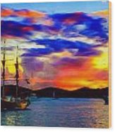 A Pirate's Sunset Wood Print