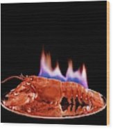 A Plate Of Lobster Flambe Wood Print