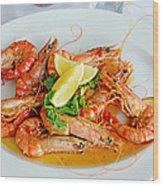 A Plate Of Shrimp Wood Print