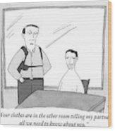 A Policeman Is Seen In An Interrogation Room Wood Print