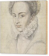 A Portrait Of A Young Woman In A Ruffled Collar Wood Print