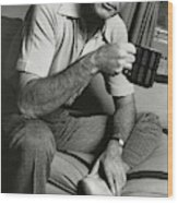 A Portrait Of Johnny Carson Sitting Wood Print