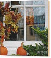 A Pretty Autumn Window Wood Print