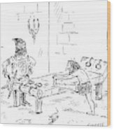 A Prisoner Is Seen Stretching On A Torture Rack Wood Print