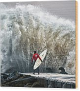 A Pro-surfer Waits For A Break In The Wood Print