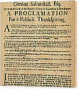 A Proclamation Of Thanksgiving Wood Print