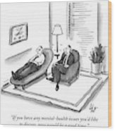 A Psychiatrist Speaks To A Man On The Sofa Wood Print