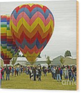 Albany Oregon Art And Air Show Hot Air Balloon Lift Off Wood Print