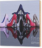 A Pyramid Of Shoes Wood Print