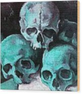 A Pyramid Of Skulls After Cezanne Wood Print