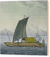 A Raft Leaving The Port Of Guayaquil Wood Print