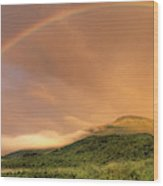 A Rainbow Appeared Over Mt. Washington Wood Print