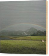 A Rainbow Over A Valley With A Small Wood Print