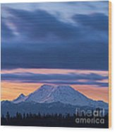 A Rainier Dawn Wood Print