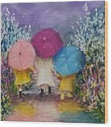 A Rainy Day Stroll With Mom Wood Print