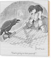 A Raven Is About To Add An N To The Word Evermore Wood Print