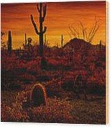 A Red Desert  Wood Print