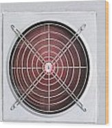 A Red Industrial Ventilated Fan On Grey Wall Wood Print