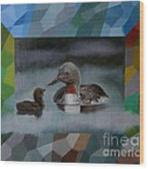 A Red-throated Diver And The Chick Wood Print