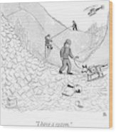 A Rescue Team Locates A Man Buried Wood Print by Paul Noth