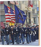 A Revolutionary Battalion Marching In The 2009 New York St. Patrick Day Parade Wood Print
