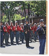 A Revolutionary Battalion Marching In The St. Patrick Old Cathedral Parade Wood Print