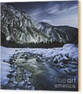 A River Flowing Through The Snowy Wood Print
