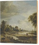 A River Landscape With Figures And Cattle Wood Print