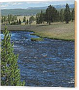 A River Runs Through Yellowstone Wood Print