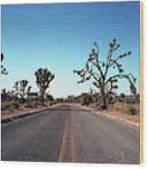 A Road Leads Through Joshua National Wood Print