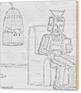 A Robot Sits Reading In A Chair Wood Print