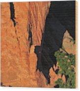 A Rock Climber In A Blue Shirt Climbing Wood Print
