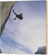 A Rock Climber On Washington Column Wood Print