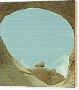 Rock Inside The Window Wood Print