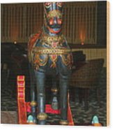 A Rocking Horse Of Many Colors Wood Print