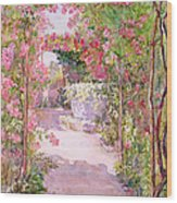A Rose Arbor And Old Well, Venice Wood Print