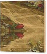 A Rose Bud Stream Wood Print