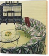 A Round Couch And A Birdcage Wood Print