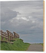 A Row Of Benches In Gloucester Ma Wood Print