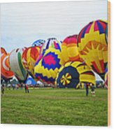 A Row Of Hot Air Balloons Left Side Wood Print