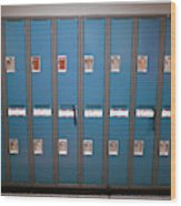 A Row Of Lockers In A School Hallway Wood Print