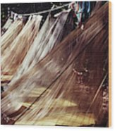 A Row Of Mosquito Netting Over Sleeping Wood Print