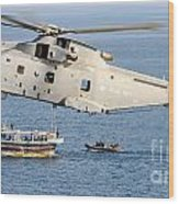 A Royal Navy Merlin Helicopter  Wood Print