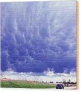A Rural Nebraska Highway And Magnificent Sky Wood Print