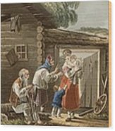 A Russian Peasant Family, 1823 Wood Print