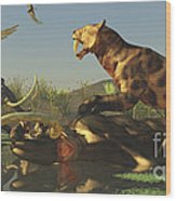 A Saber Tooth Cat Attacks A Woolly Wood Print