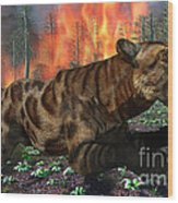 A Saber-toothed Tiger Running Away Wood Print